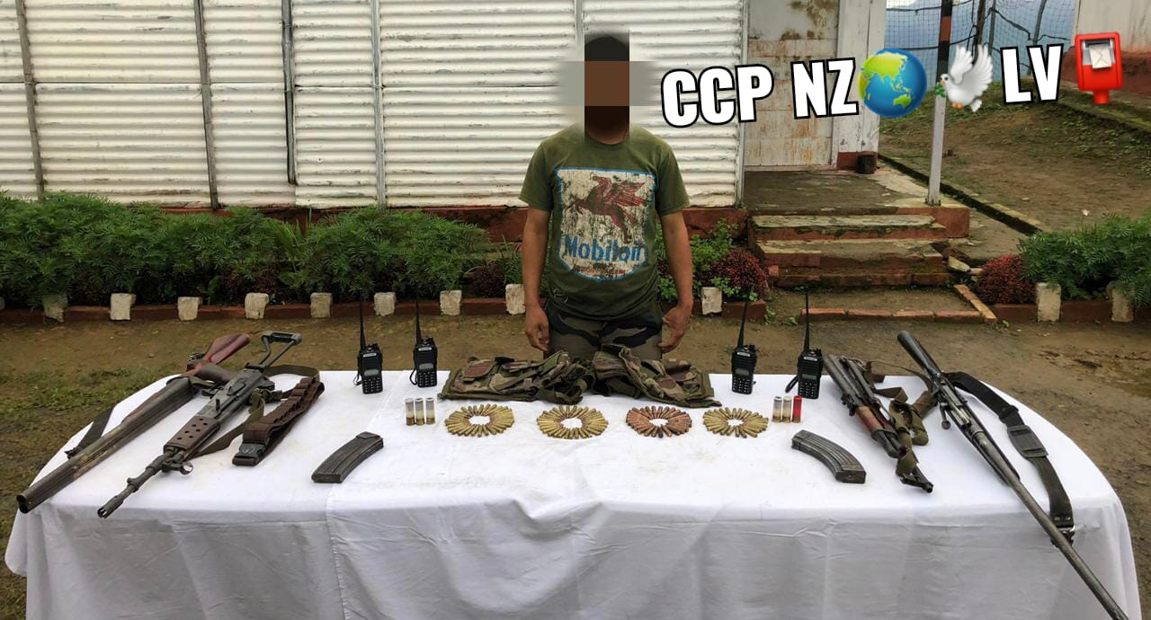 1-APPREHENDED WITH WEAPONS IN CCPUR-AK56,29live round,MA3 MK II Rifle with 93round,112mmsniperBore,1Double barrel Gun 12rounds,Wireless set