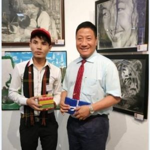 Lone North East Painter in National Art/ Painting Exhibition in Delhi -Mr.Zamminlun Singson