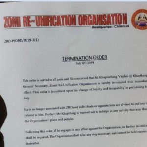 Termination Order By Calvin H President – Zomi-Re Unification Organisation