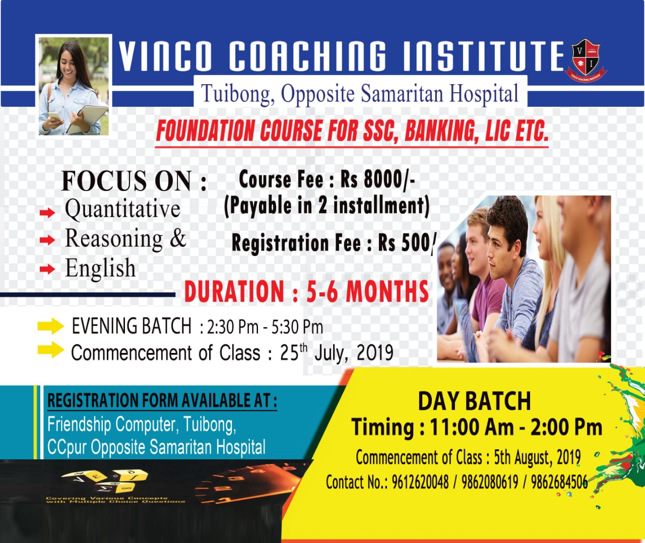 VINCO COACHING INSTITUTE | Admission started,duration  5-6 months