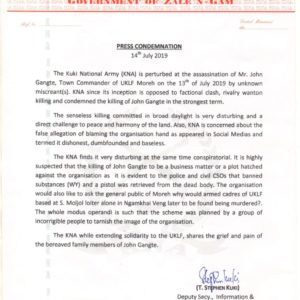 Kuki National Army(KNA) Condemnation Press Note 14th July 2019
