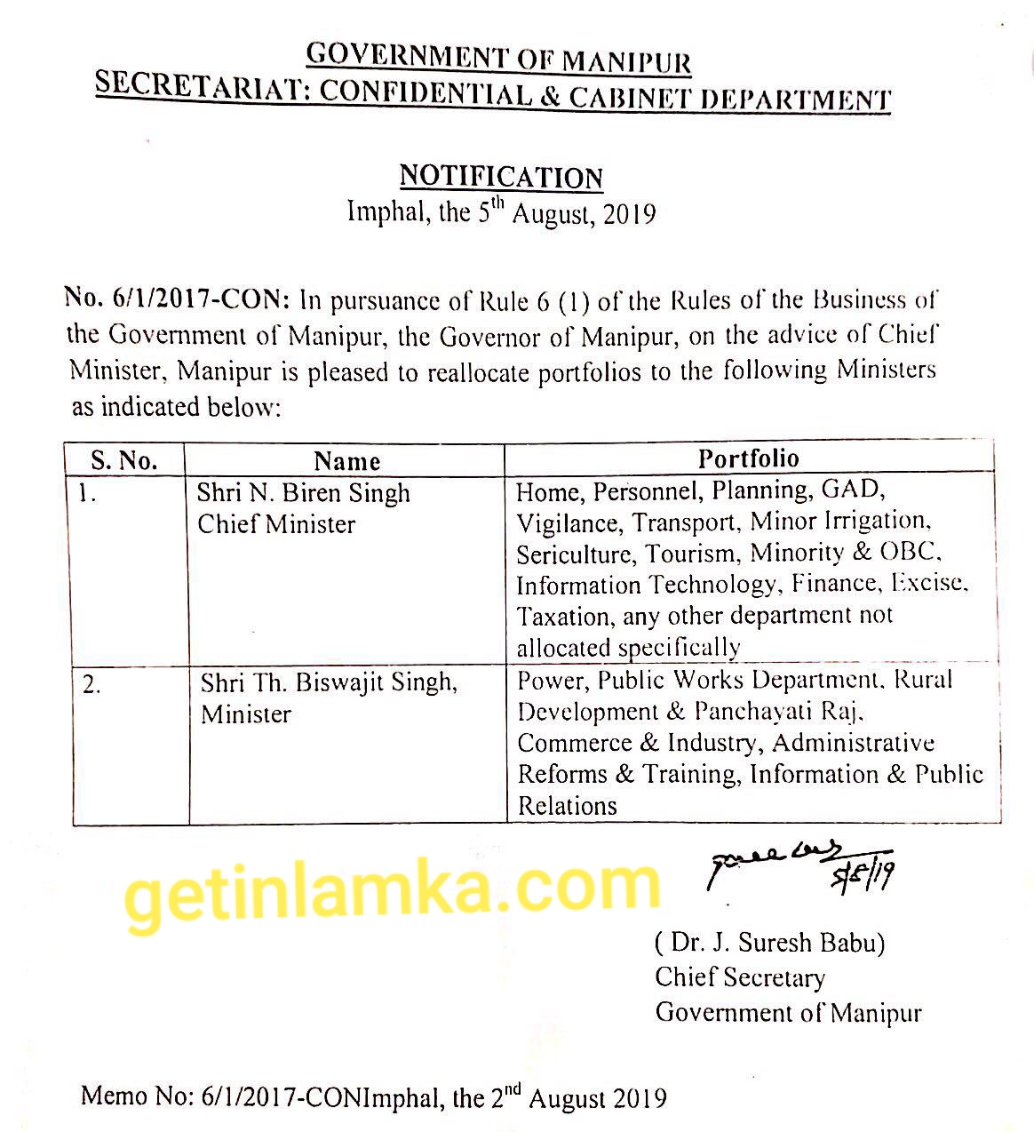 Relocate portfolio of the following Ministers ordered By: Dr.J.Suresh Babu Chief Secretary, Government of Manipur