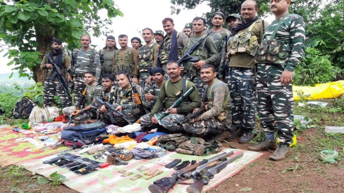 CRPF-Naxalite encounter in a naxalite heap, several items including weapons recovered
