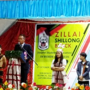 Pu. SN John, President, Zillai GHQ  in Zillai Shillong Block's 38th Conference 2019 ,Donbosco Technical Hall, Shillong  2nd October, 2019 ah a zillai chan pi te kiang athucha gena