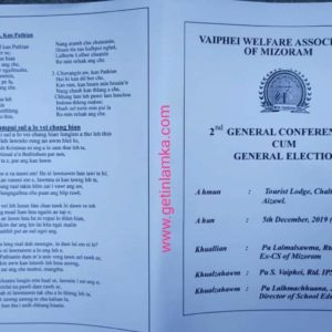 Vaiphei Welfare Association of Mizoram in The 2nd General Conference Cum Election hun mang ding