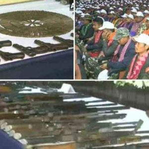 1612 National Democratic Front of Bodoland (NDFB) on Thursday laid down arms in Guwahati