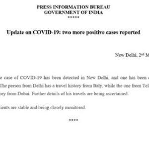 Breaking News | Delhi & Telangana State Coronavirus Positive cast detected today