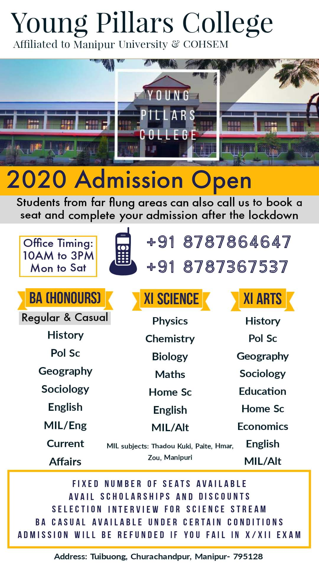 Young Pillars College   Admission Open Please call 8787864647