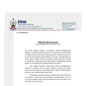 PRESS RELEASE | Zillai General Hq. Churachandpur
