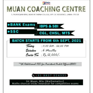 Muan Coaching Centre | New Batch Starts From 6th Sept 2021